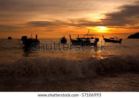 Sunset at Lipe - stock photo