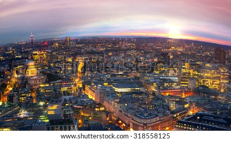 Sunset at London, night panorama. - stock photo