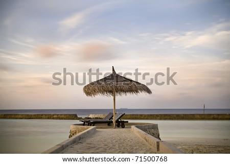 Sunset at Maldives - stock photo