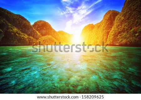 Sunset at maya bay, Phi-Phi island Krabi Thailand  - stock photo