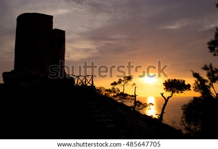 sunset at medieval tower (Majorca / Spain)