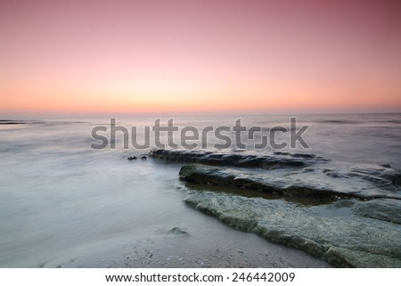 sunset at Mediterranean sea, Israel - stock photo