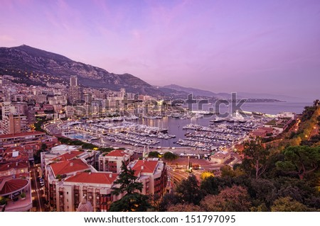 Sunset at Monte Carlo port, Monaco - stock photo