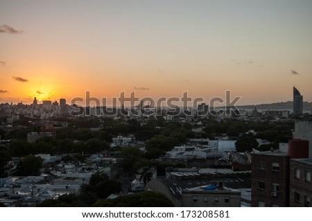 Sunset at Montevideo, Uruguay - stock photo