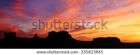Sunset at Monument Valley, Utah, USA - stock photo