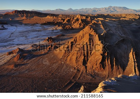 Sunset at Moon Valley - Valle de la Luna -  Atacama Desert, Chile - stock photo