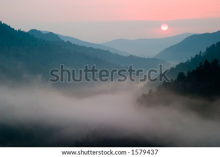 Sunset at Morton's Overlook Great Smoky Mountains National Park - stock photo