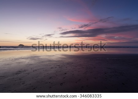 Sunset at Muriwai Beach, New Zealand