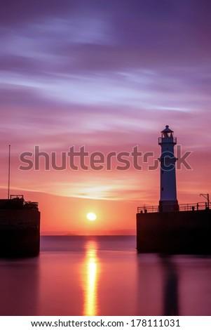 Sunset at Newhaven Harbour, Edinburgh - stock photo