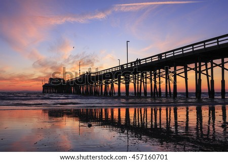 Sunset at Newport beach pier, California