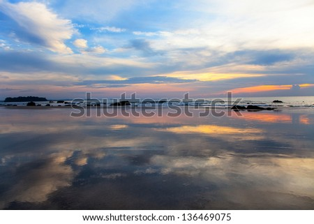 Sunset at Ngwe Saung Beach, Myanmar - stock photo
