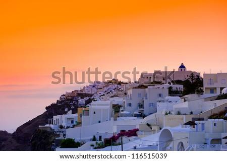 Sunset at Oia of Cyclades Island Santorini Greece - stock photo