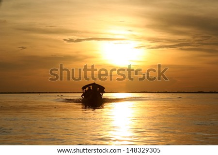 Sunset at Orinoco river (Venezuela) - stock photo