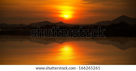 Sunset at Pattaya in Thailand  - stock photo
