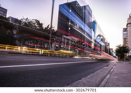 Sunset at Paulista Avenue in Sao Paulo, Brazil - stock photo