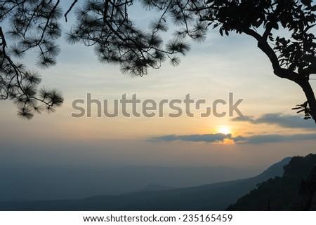 Sunset at Phu Kradung in Thailand - stock photo