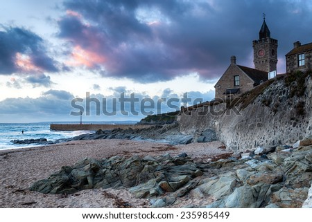 Sunset at Porthleven near Helston in Cornwall - stock photo
