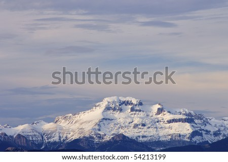 Sunset at Pyrenees Mountains, Spain - stock photo
