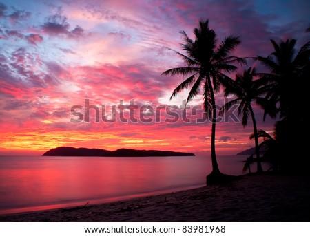 sunset at rebak island, Langkawi, Malaysia - stock photo