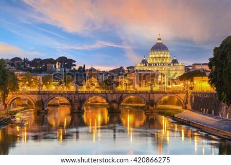 Sunset at Saint Peter Basilica, Rome, Italy - stock photo
