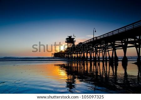 Sunset at San Clemente Pier California - stock photo