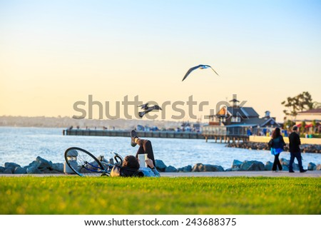 Sunset at San Diego Waterfront Public Park, Marina and the San Diego Skyline. California, United States. - stock photo