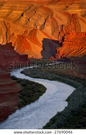 Sunset at san juan river utah - stock photo