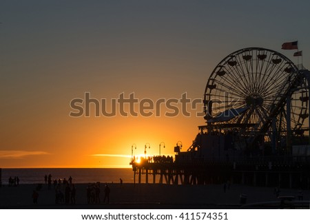 Sunset at Santa Monica Beach