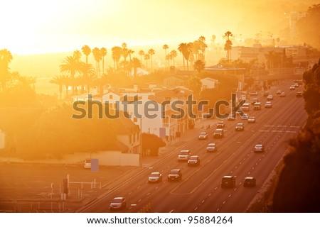 Sunset at Santa Monica Beach - stock photo