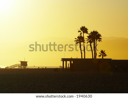 Sunset at Santa Monica Beach, California - stock photo