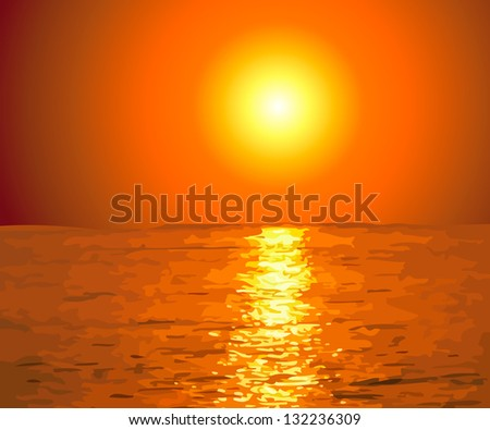Sunset at Sea. Raster - stock photo