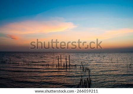 Sunset at sea, sky, beautiful. - stock photo