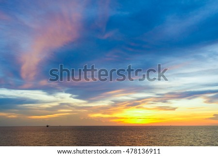 Sunset at sea with beautiful pink,blue,orange clouds and sky in the evening and twilight time