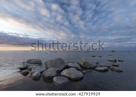 Sunset at seaside.  - stock photo