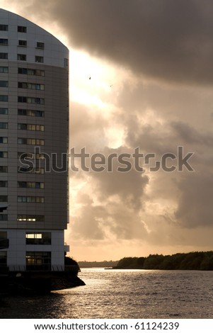 Sunset at Shannon river - stock photo