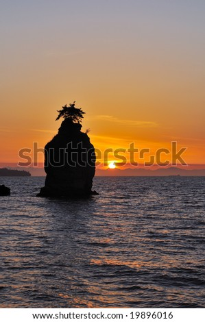 sunset at siwash rock, Stanley park vancouver