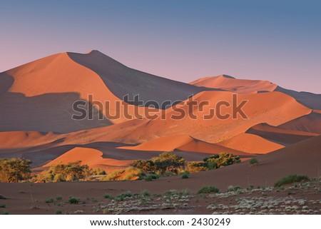 Sunset at Sossusvlei, Namibia - stock photo