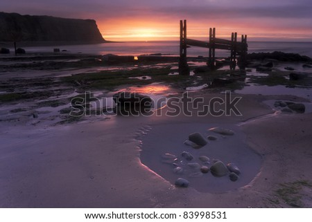 Sunset at St Audries Bay, Somerset, England