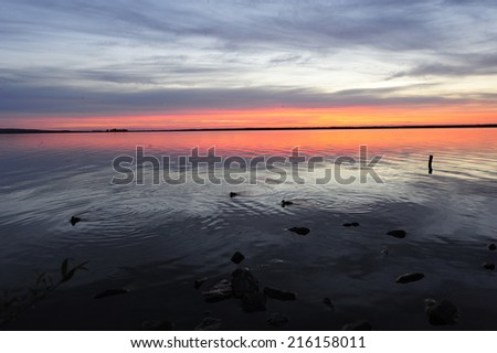 Sunset at Steinhude lake,Steinhude am Meer,Germany - stock photo