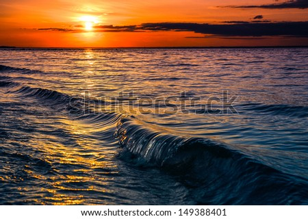 Sunset at sunken meadow beach, Long Island New York. Summer travel concept - stock photo