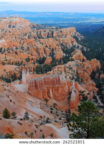 sunset at sunrise point in bryce canyon national park, utah  - stock photo