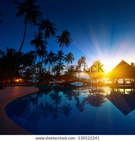 Sunset at Thailand paradise - stock photo