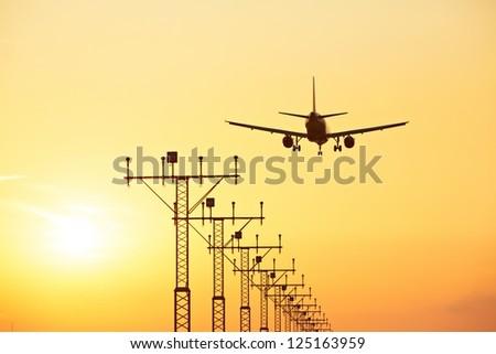 Sunset at the airport, Prague, Czech Republic - stock photo