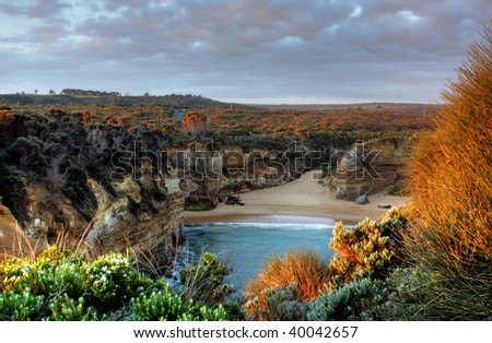 Sunset at the 12 Apostles on the Great Ocean Road, Australia - stock photo