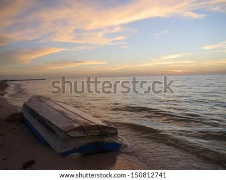 sunset at the beach in Celestun mexico  night sky evening Spirit oceans panorama - stock photo