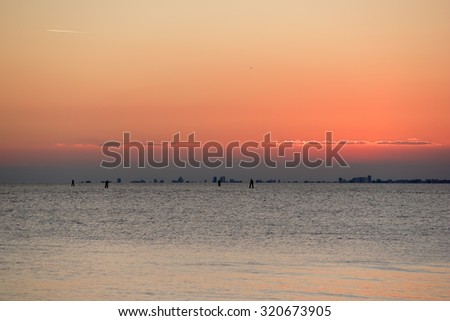 Sunset at the beach in Grado, Italy.