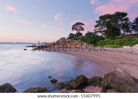 Sunset at the beach in Lighthouse point Park, New haven, Connecticut - stock photo