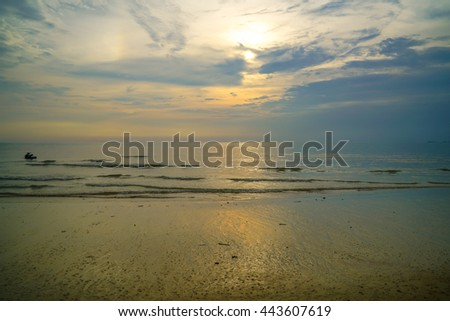 Sunset at the beach in Port Dickson, Malaysia