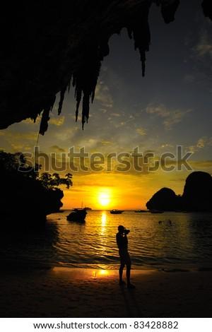 Sunset at the cave, Aonang, Krabi, Thailand - stock photo