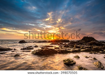 sunset at the coastline of Kung Viman Bay in Chanthaburi province east of thailand - stock photo